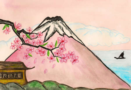 Hand painted picture, watercolours - Mount Fuji in Japan  Stock Photo