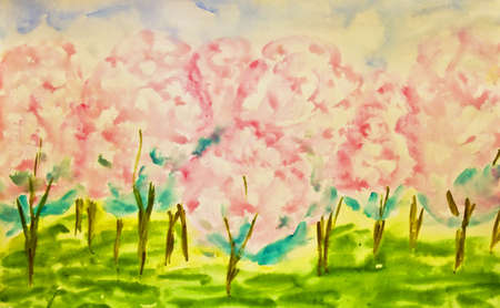 Hand painted picture, watercolours, pink apple garden in spring in blossom.  photo