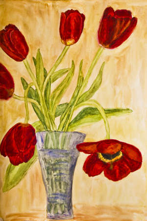 Hand painted picture, watercolours, vase with red tulips. photo