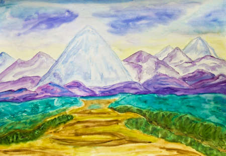 Hand painted picture, watercolours, landscape with blue mountains. photo