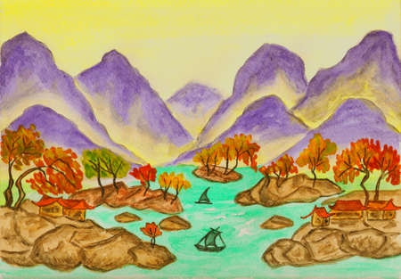 Hand painted picture, in traditions of ancient Chinese art - landscape with purple mountains. Stock Photo