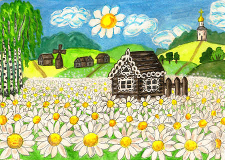 oxeye: Hand painted picture, watercolours and acrylic, series  Stock Photo