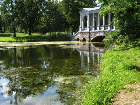 Bridge in park in Tsarskoye selo, surroundings of St  Petersburg, Russia   photo