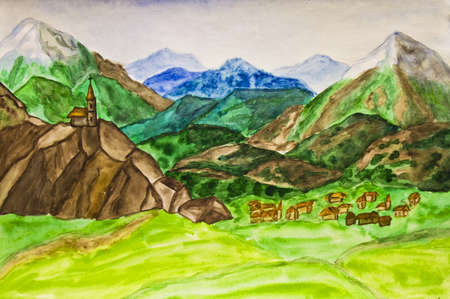 Hand painted picture, watercolours, landscape of Italy with mountains. photo