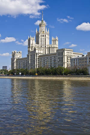 Moscow, high residential building on bank of Moscow river. Stock Photo - 12943837