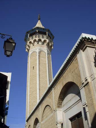 Tunisia, Suss - Febraury 28, 2008: minaret of muslim mosque in town Suss.