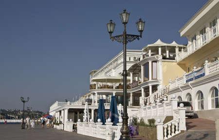 Ukraine, Crimea, Sevastopol - October 03, 2010: buildings on sea quay. Sevastopol - famous resort and military port on Black sea. Stock Photo - 12943843