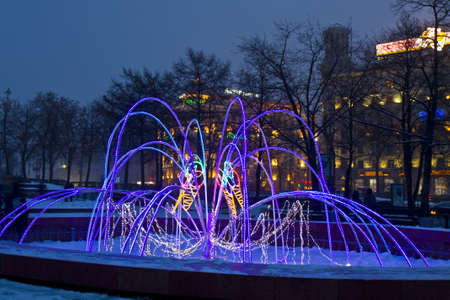 Moscow, Russia - January 03, 2012: electric winter fountain on Pushkinskaya square.