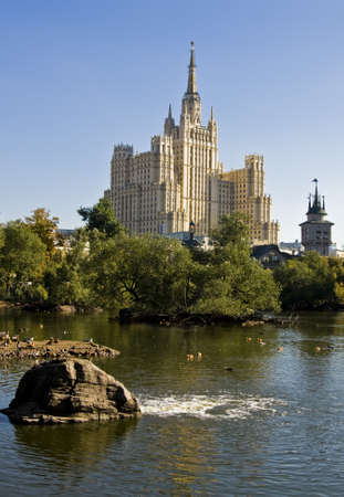 xx century: Moscow, Russia - September 25, 2010: high rize residential building of 30-ties XX century. Editorial