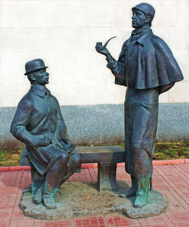 Monument to heroes of book by Arthur Conan Doyle Sherlock Holmes and doctor Watson near British Embassy in Moscow, built in 1997, sculptor Andrey Orlov. Faces similar to Russian authors Vasiliy Livanov and Vitaliy Solomin, played in film by this novel, an Editorial