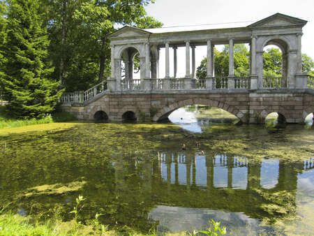 Bridge with colomns in park in Tsarskoye selo, surroundings of St  Petersburg, Russia  Stock Photo - 13143952