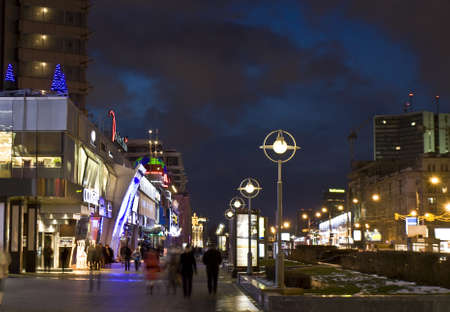 Moscow, Russia - January 05, 2012: New Arbat street - shopping city centre at night. Stock Photo - 13256814