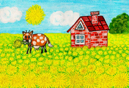 Hand painted illustration, landscape House with dandelions, acrylic. illustration