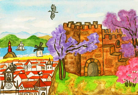 Hand painted picture, watercolours. Series Places of the World, Portugal. photo