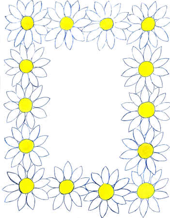 oxeye: Frame design from camomiles (ox-eye daisy), hand painted, gouache. Stock Photo