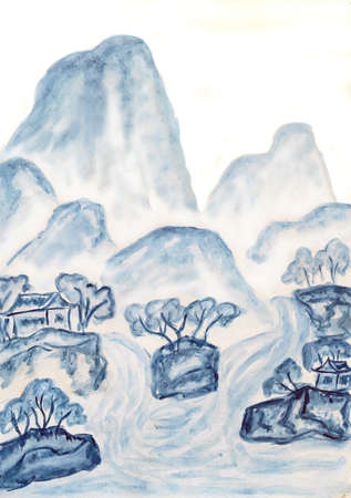 Hand painted picture in traditions of old Chinese art mixed with individual style, landscape with mountains in blue colour. photo