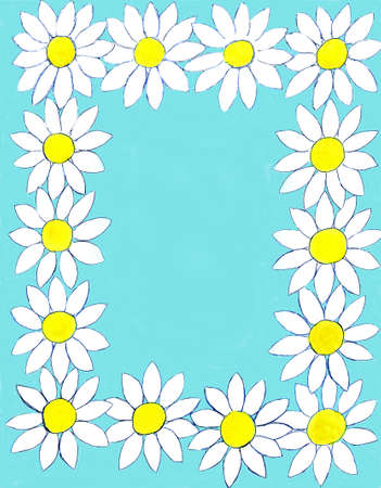 oxeye: Frame design from camomiles (ox-eye daisy) on blue background, flowers hand painted, gouache. Stock Photo