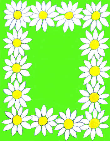 oxeye: Frame design from camomiles (ox-eye daisy), flowers hand painted, gouache, background designed in computer. Stock Photo