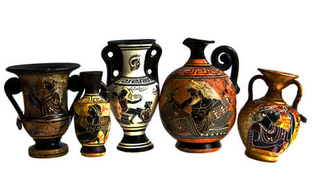 Souvenir immitation of antique Greek amphoras, isolated on white background photo