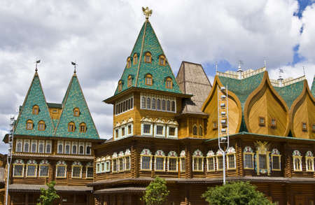 Moscow, Russia - June 04, 2011: wooden palace of Russian kings in mansion Kolomenskoye, 16 century, reconstruction. Stock Photo - 13860690