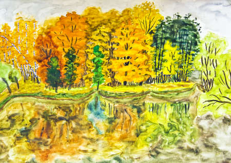 Hand painted picture, watercolours - autumn landscape, forest near lake with reflection. photo