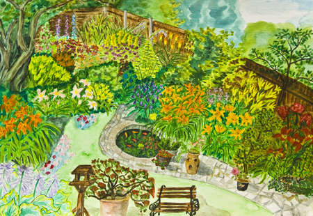 Hand painted picture, watercolours - garden landscape with many flowers. photo