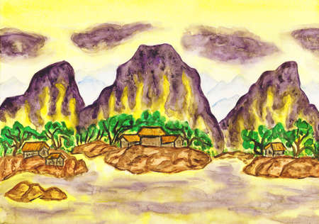 Hand painted picture in traditions of ancient Chinese art mixed with individual style - landscape with violet mountains on yellow sky.  photo