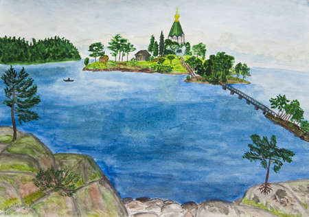 picutre: Hand painted picutre, watercolours - monastery on Valaam island on Ladoga lake, Russia.