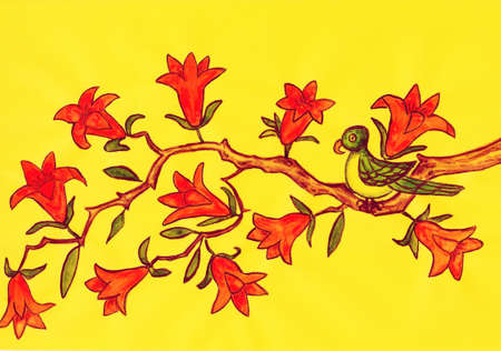 Bird on branch with orange flowers tecoma campsis on yellow background, hand painted picture, watercolours on colored paper, in traditions of old Chinese art. photo
