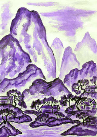 Hand painted picture, watercolours, in traditions of old Chinese art mixed with individual style, landscape with mountains in violet colour. photo