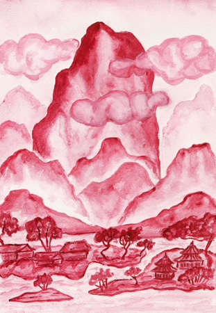 Hand painted picture - landscape with mountains in crimson colours, in traditions of old Chinese art mixed with individual style, watercolours. photo