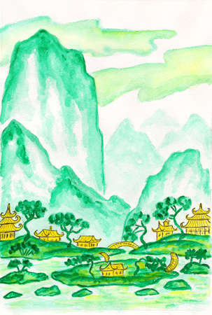 Hand painted picture - landscape with mountains in turquoise (motton blue) colours, watercolours, in traditions of old Chinese painting mixed with individual style.