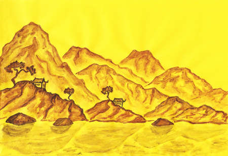 Hand painted picture, landscape with brown hills on yellow background, in traditions of ancient Chinese painting mixed with individual style, watercolours on coloured paper. Stock Photo - 14527908