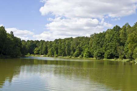 izmaylovskiy: Summer landscape - lake and forest on banks, recorded in Izmaylovskiy park, Moscow. Stock Photo