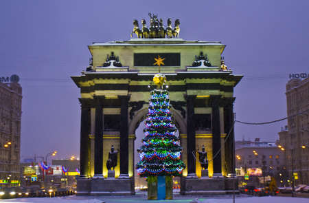 Moscow, Russia - January 23, 2011: christmas tree near Triumphal arch on Kutuzovskiy prospect street.