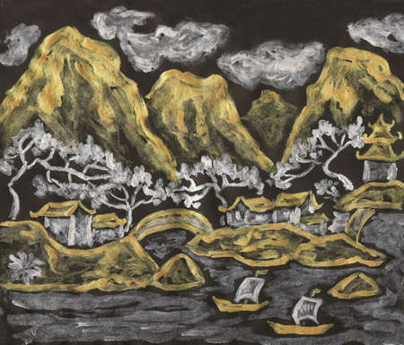 Hand painted picture, landscape with hills, in traditions of ancient Chinese art, silver and golden gouache on coloured black paper.
