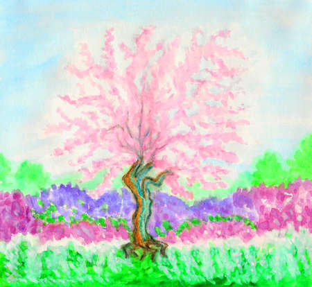 Hand painted picture, watercolours - spring landscape with pink tree in blossom (pink Japanese cherry). photo