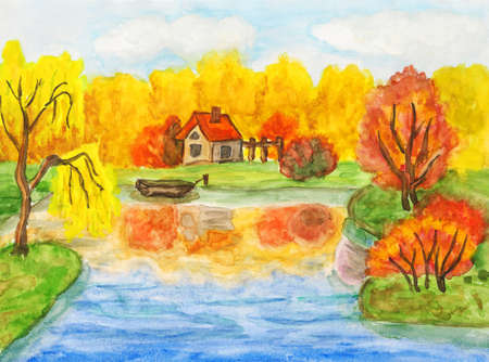Hand painted picture, watercolours - autumn landscape with house and boat.
