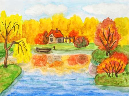 Retrato pintado m�o, aquarelas - paisagem de outono com casa e barco. Banco de Imagens