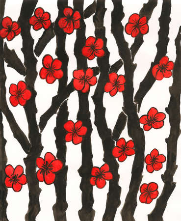 japanese art: Hand painted picture, gouache, in traditions of ancient Japanese art, red flowers on black branches.