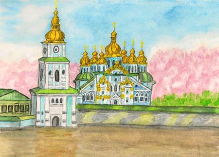 Hand painted picture, watercolours - Mihaylovskiy monastery in Kiev, capital of Ukraine. photo