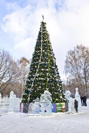izmaylovskiy: Moscow, Russia - January 2012: Christmas tree and ice sculptures in Izmaylovskiy park. Editorial