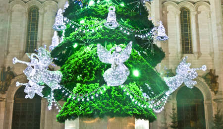 Moscow, Russia - January 08, 2012: detail of Christmas tree with glass angels near cathedral of Jesus Christ Saviour.