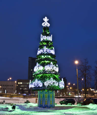 Moscow, Russia - January 04, 2012: Christmas tree on Preobrazhenskaya square.