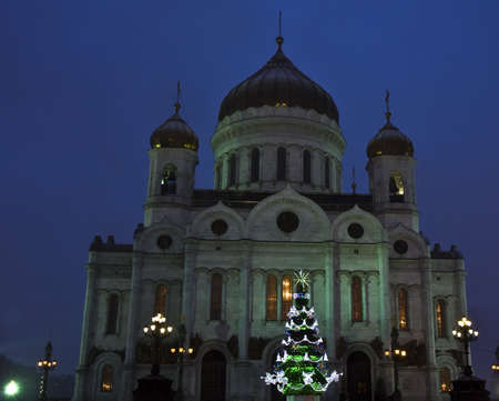 Moscow, Russia - January 11, 2012: christmas tree near cathedral of Jesus Christ Saviour