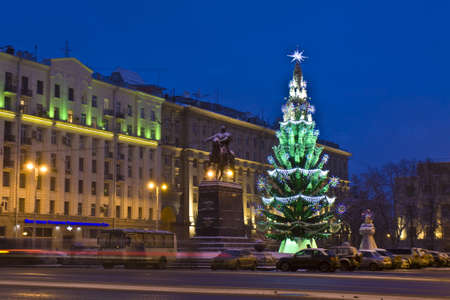 Moscow, Russia - January 09, 2012: Christmas tree and monument to citys founder prince Yuriy Dolgorukiy on Tverskaya street.