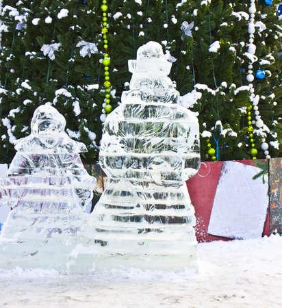 izmaylovskiy: Moscow, Russia - January 02, 2012: ice sculptures near christmas tree in Izmaylovskiy park. Editorial