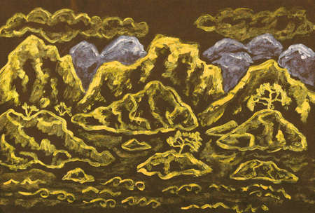 Hand painted picture, landscape with hills, in traditions of old Chinese painting, golden and silver gouache on coloured black paper. photo
