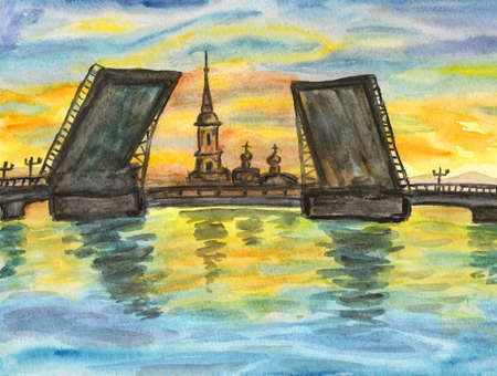 Hand painted picture, watercolours, view of St. Petersburg, Russia - bridges on Neva river and fortress of St. Peter and St. Pavel on sunset. photo