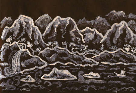 Hand painted picture, landscape with hills, silver gouache on colored black paper, in traditions of old Chinese painting. photo